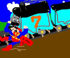superman stops a train