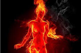 red burn lady