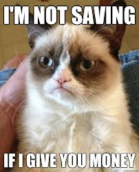 Grumpy Cat Saving Money